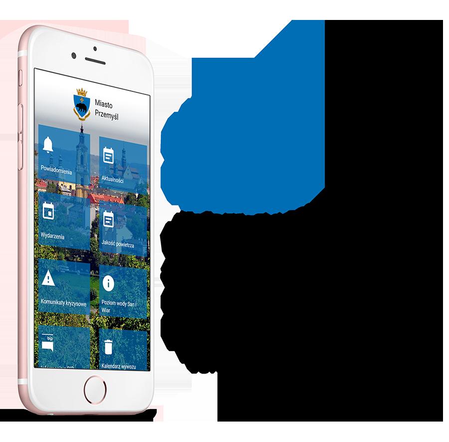zdjęcie smartfona z widokiem na stronę startową aplikacji z napisem: Miasto Przemyśl Wielozadaniowa, darmowa aplikacja mobilna dla mieszkańców Miasta Przemyśl
