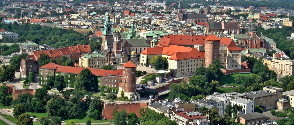 panorama Krakowa z lotu ptaka