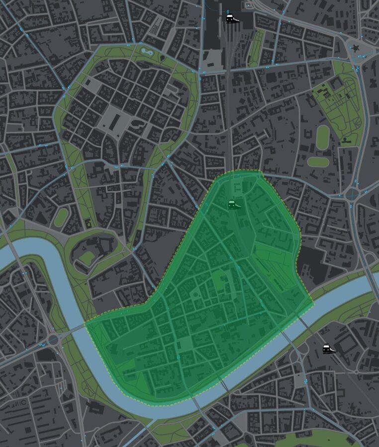 Mapa Krakowa z zaznaczonymi obszarami ogrodów