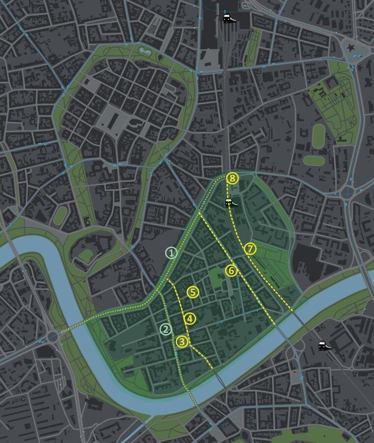 mapa z zaznaczonymi rozwiązaniami ogrodów