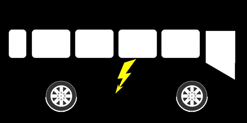 grafika przedstawiająca sylwetkę autobusu z błyskawicą